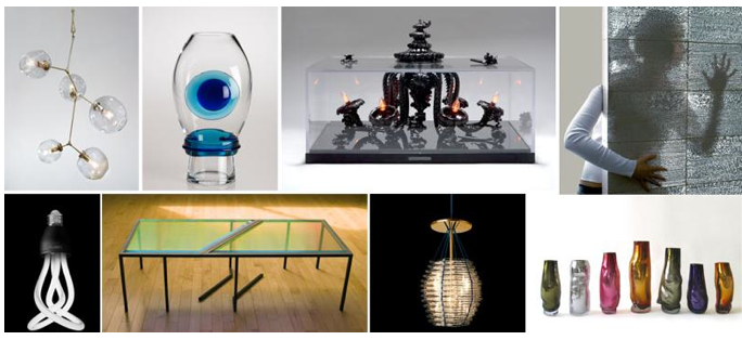 Exhibition features tableware, lighting designs in glass