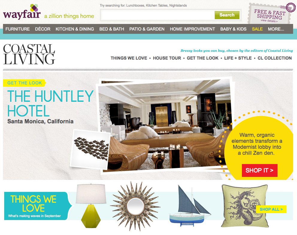 Coastal Living launches online boutique with Wayfair