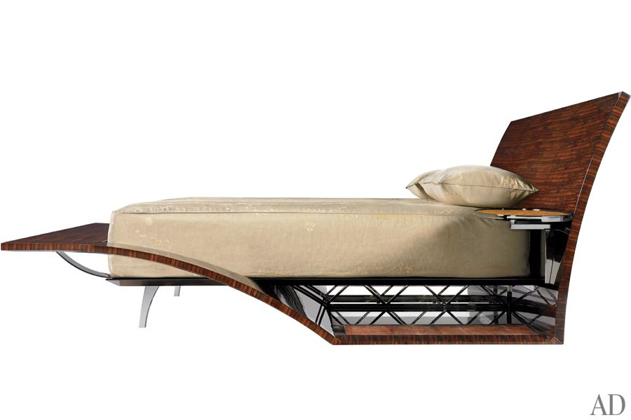 the pair started by designing the bedan art deco ocean liner of a bed featuring a lustrous tropical hardwood frame that extends from its gently curved art deco furniture lines